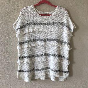 LOFT Fringe Short Sleeve Sweater